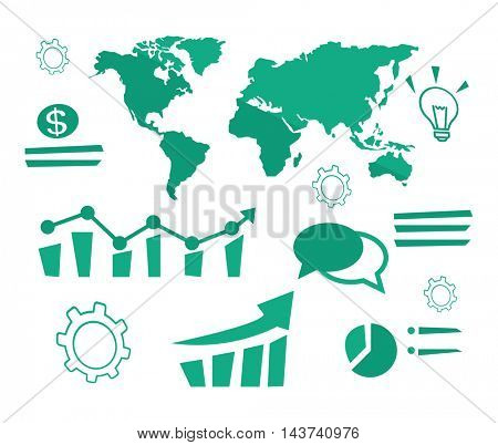 World map with different infographics, light bulb, coin, cogwheel vector flat design illustration isolated on white background.