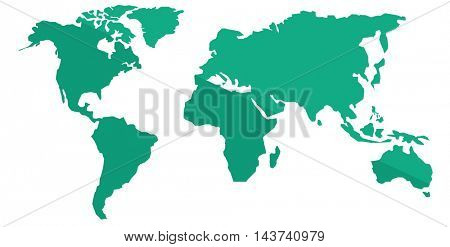 World map vector flat design illustration isolated on white background.