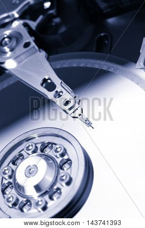 Close up of opened hard disk drive hard disc repairing concept data saving concept
