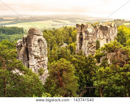 Sandstone cliff in Bohemian Paradise, or Cesky Raj, in Czech Republic