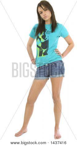 Beautiful Brunette In Denim Shorts Full Length