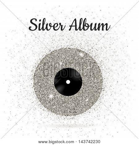 Vector illustration of metal vinyl disk: silver