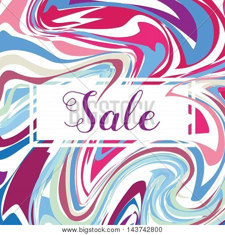 Seasonal Sale Banner Poster, Retro Flyer with Marble Background