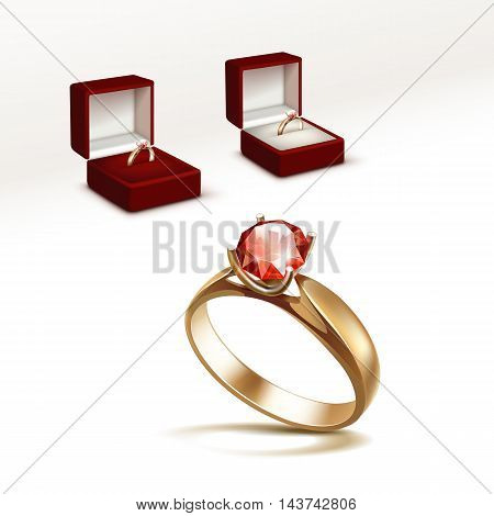 Vector Gold Engagement Ring with Red Shiny Clear Diamond in Red Jewelry box Close up Isolated on White Background