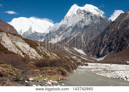 View of upper Langtang Valley with Mt. Shishapangma and Langshisa Peak Langtang National Park Rasuwa District Bagmati Nepal.