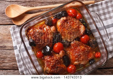 Roasted Pieces Of Chicken With Mustard, Tomatoes And Mushrooms. Horizontal Top View