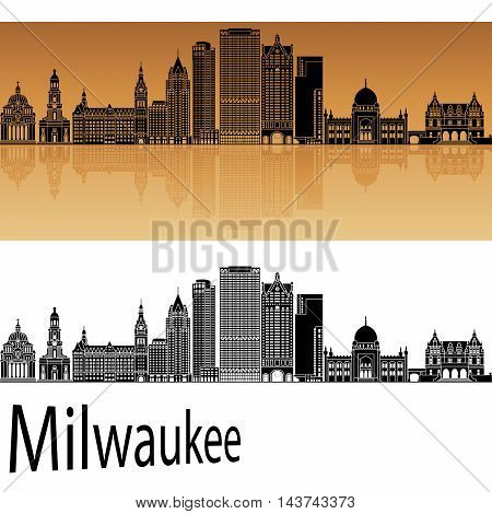 Milwaukee skyline in orange background in editable vector file