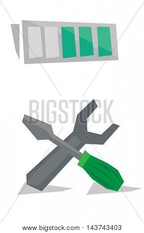 Wrench with screwdriver and battery above them vector flat design illustration isolated on white background.