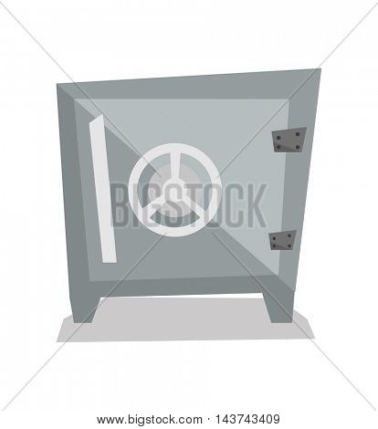 Steel bank safe vector flat design illustration isolated on white background.
