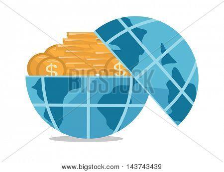 Globe full of golden coins vector flat design illustration isolated on white background.