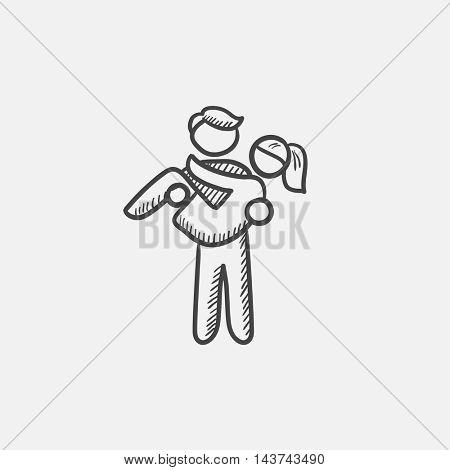 Man carrying his girlfriend sketch icon for web, mobile and infographics. Hand drawn vector isolated icon.