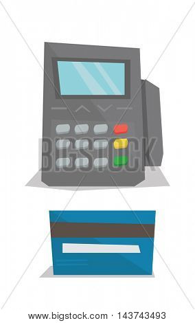 Bank terminal and credit card vector flat design illustration isolated on white background.