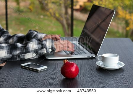 Person working on Computer with Telephone Coffee Mug on black wooden Table large Windows and green Garden View on Background, Focus on red Pomegranate