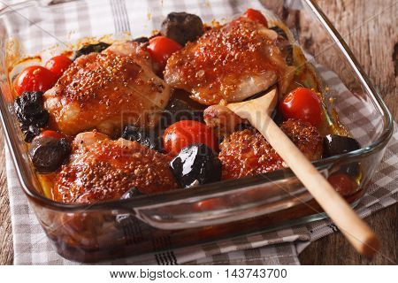 Tasty Food: Chicken Thigh Baked With Tomatoes And Wild Mushrooms Close Up. Horizontal