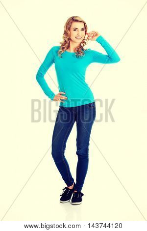 Young casual woman style. Studio portrait