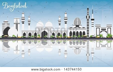 Baghdad Skyline with Gray Buildings, Blue Sky and Reflections. Vector Illustration. Business Travel and Tourism Concept with Historic Buildings. Image for Presentation Banner Placard and Web Site.