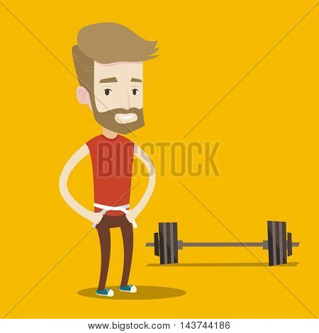 Man measuring his waistline with a tape. Man measuring with tape the abdomen. Happy man with centimeter on a waist standing near a barbell on the floor. Vector flat design illustration. Square layout.