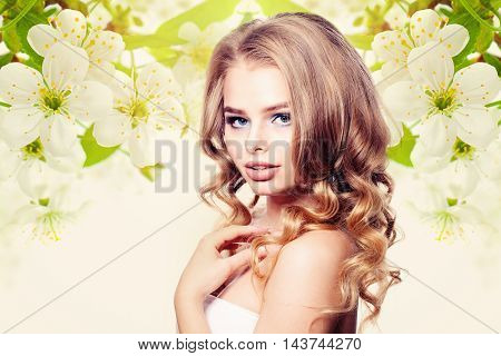 Beautiful Woman on Floral green Healthy Background