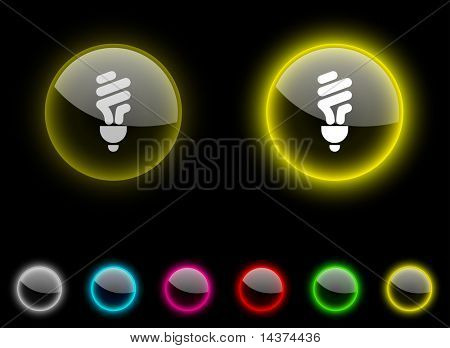 Fluorescent bulb realistic icons. Empty buttons included.