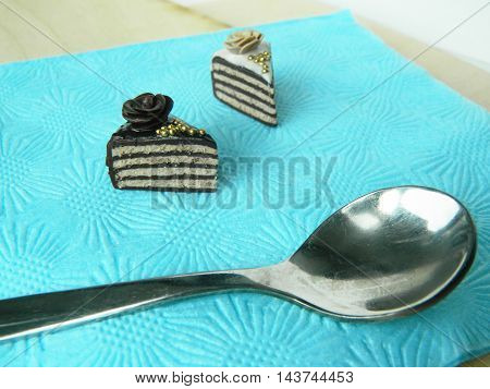 Miniature Polymer Clay Cake On The Table