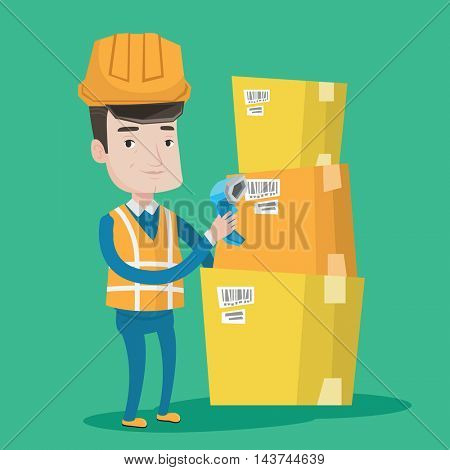 Warehouse worker scanning barcode on box. Warehouse worker checking barcode of box with a scanner. Warehouse worker in hard hat with scanner. Vector flat design illustration. Square layout.