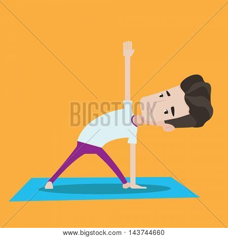 Young man standing in yoga triangle pose. Man meditating in yoga triangle position. Man doing yoga. Vector flat design illustration. Square layout.