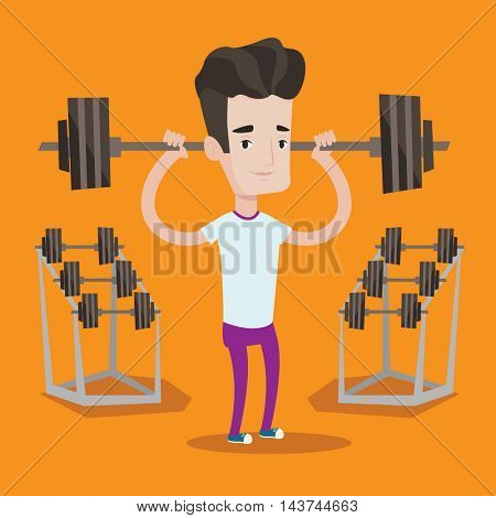 Sporty man lifting a heavy weight barbell. Strong sportsman doing exercise with barbell. Male weightlifter holding a barbell in the gym. Vector flat design illustration. Square layout.