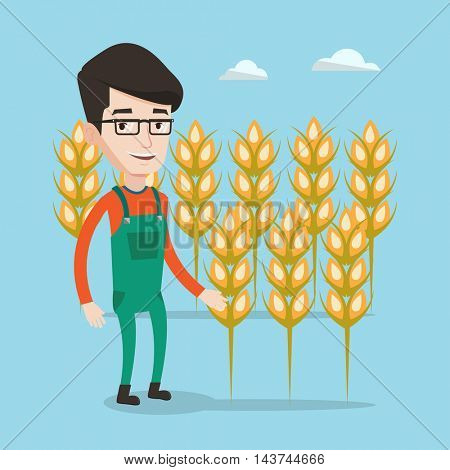 A happy farmer in glasses standing on the background of wheat field. Smiling man working in wheat field. Vector flat design illustration. Square layout.