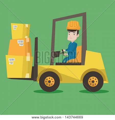 Warehouse worker loading cardboard boxes. Forklift driver at work in storehouse. Warehouse worker in hard hat driving forklift at warehouse. Vector flat design illustration. Square layout.