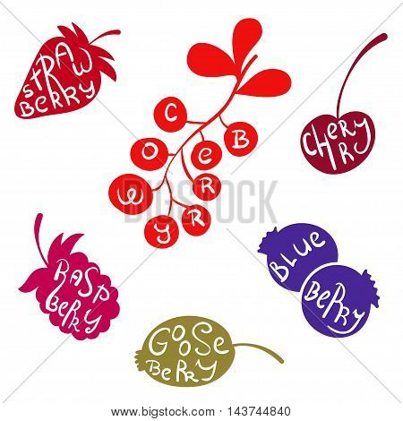 Berries - vector silhouettes set. Flat style with hand drawn lettering.