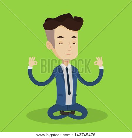 Young businessman with eyes closed meditating in yoga lotus position. Businessman in suit relaxing in the lotus position. Vector flat design illustration. Square layout.