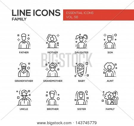 Family - modern vector plain line design icons and pictograms set. Father, mother, sister, brother, daughter, son, grandmother grandfather baby aunt uncle