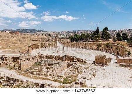 Forum in the ancient Roman city of Gerasa Jerash Jordan.