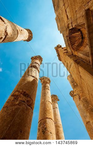 Ancient Jerash. Ruins of the Greco-Roman city of Gerasa Jordan.