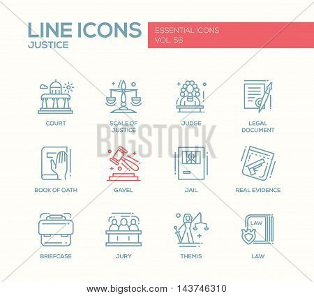 Justice - modern vector plain line design icons and pictograms set. Court, judge, legal document, book of oath, gavel, jail, real evidence, jury, briefcase themis law