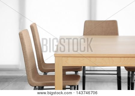 Modern interior with table and chairs