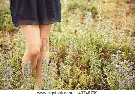 Woman legs on grass background