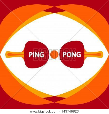 Ping pong flat design - isolated illustration. Table tennis vector elements. Orange colors