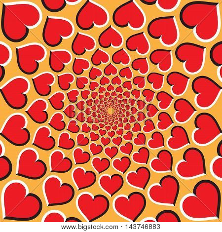 Optical illusion background. Red hearts are moving circularly toward the center on golden background. Red hearts background.