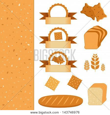 Food set of icons and labels - elements for bakery. Bread and biscuit flat illustration. Vector collection of baking. Bread background texture.