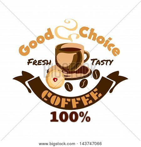 Coffee icon. Cafe advertising signboard emblem. Hot cappuccino coffee cup, beans, cookie, biscuit. Cafeteria promo label. Vector sign for cafeteria, cafe signboard, menu