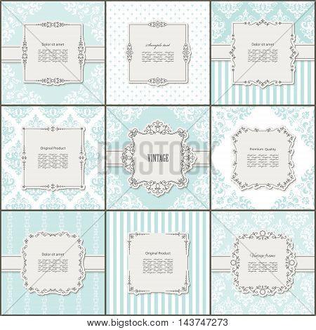 Elegant frame on pattern set in blue and beige. Templates for wedding or scrapbook design.