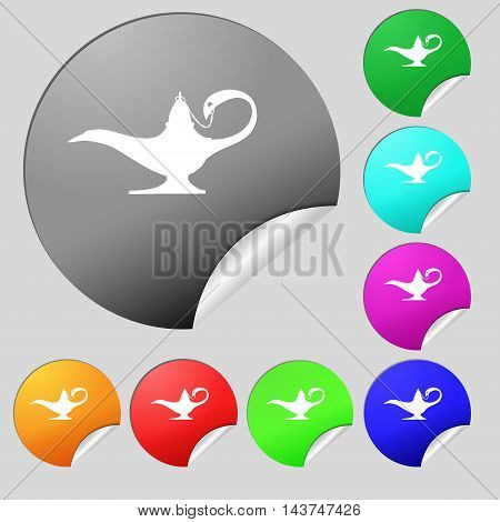 Alladin Lamp Genie Icon Sign. Set Of Eight Multi Colored Round Buttons, Stickers. Vector