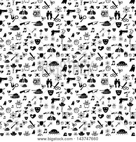Vector hand drawn cartoon seamless pattern with cinema genres. Movie genres theme: action romance fantasy sci-fi comedy drama. Black and white pattern for paper textile game web design