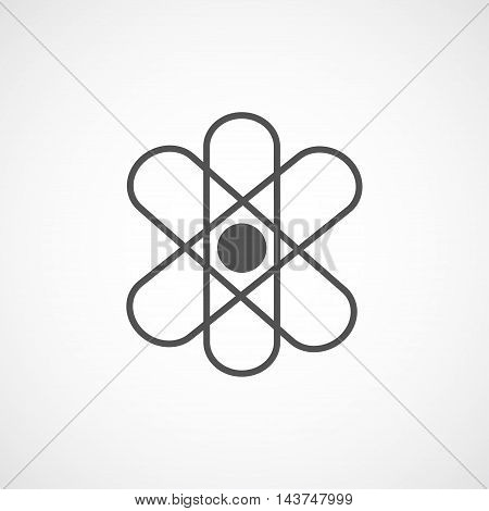 Vector flat stylize atom icon. Isolated atom icon for logo web site design button app UI. Geometrical atom illustration for posters cards book cover flyers banner web game designs.