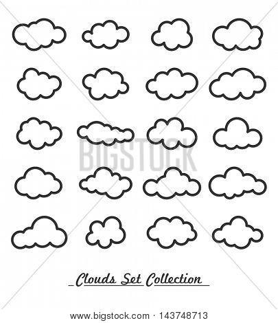 Cloud icon, cloud shape. Set of different clouds.Vector clouds