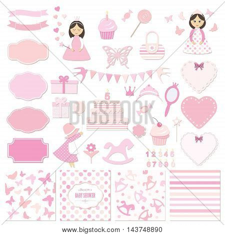 Birthday party and girl baby shower design elements set. Girly stickers.