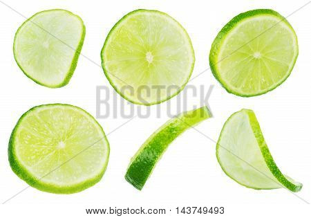 Slice section of green lime isolated over the white background set of different foreshortenings