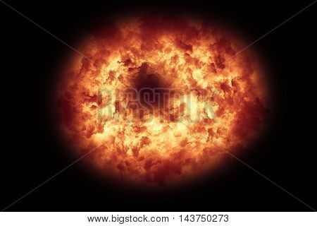 Explosion on black background
