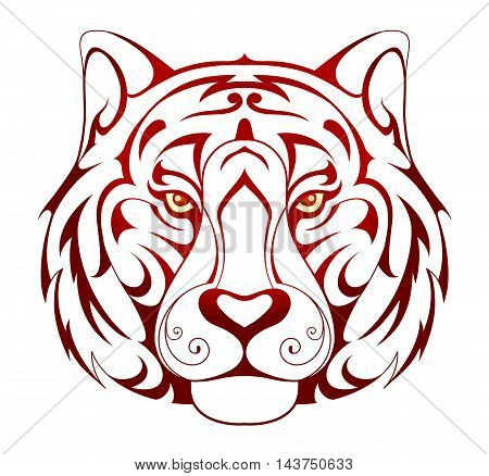 Tiger head tattoo shape on white backdrop